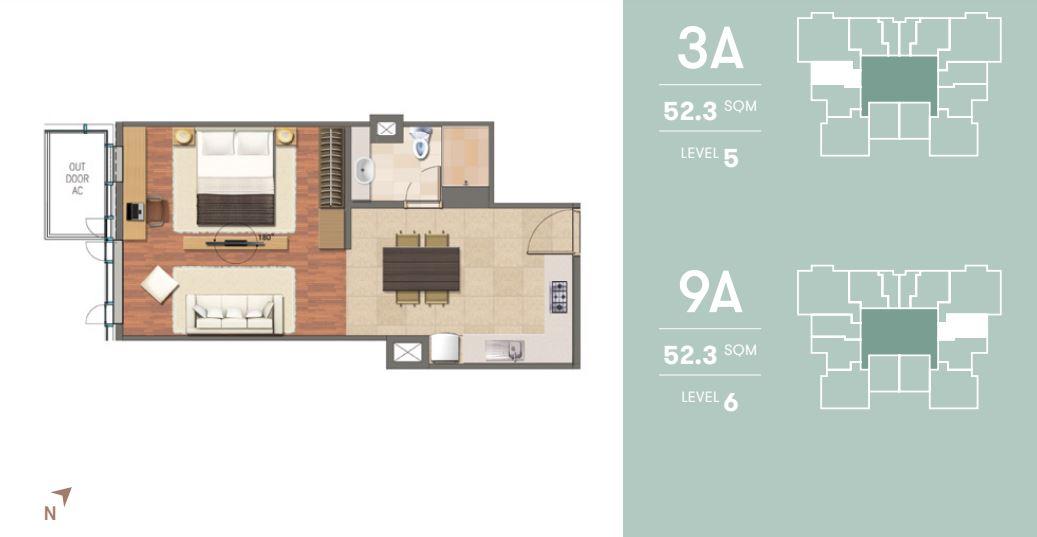 Denah Tipe 2 Bedroom Suite