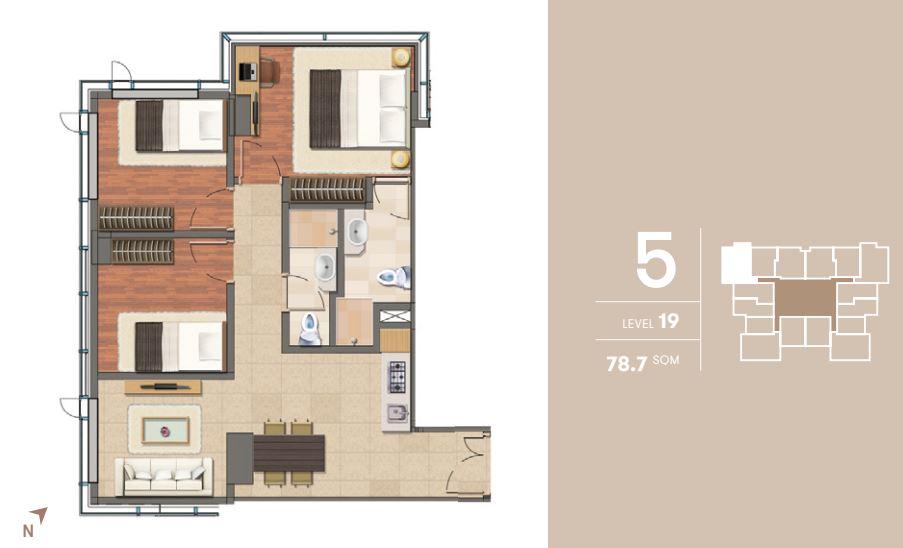 Tipe 3 Bedroom Level 19